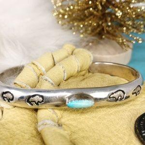 Sterling Turquoise Bracelet Cuff Story Teller